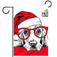 ガーデンフラッグ縦型両面 12x18inch 庭の屋外装飾.メリークリスマス帽子犬