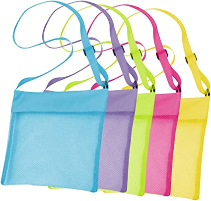 6 Pcs Beach Toy Totes with Adjustable Strap for Collecting Shells ...