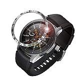 Fintie Anillo de Bisel Compatible con Samsung Galaxy Watch 46mm/Gear S3 Frontier & Gear S3 Classic, Carcasa Protectora contra Rayones de Aacero Inoxidable Bucle de Bisel, Plateado/Negro