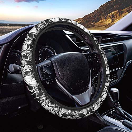 Showudesigns Skull Auto Lenkradbezug für Herren Damen Atmungsaktiv Mesh Stretch Auto Radschutz Universal 38,1 cm Anti-Rutsch Autozubehör