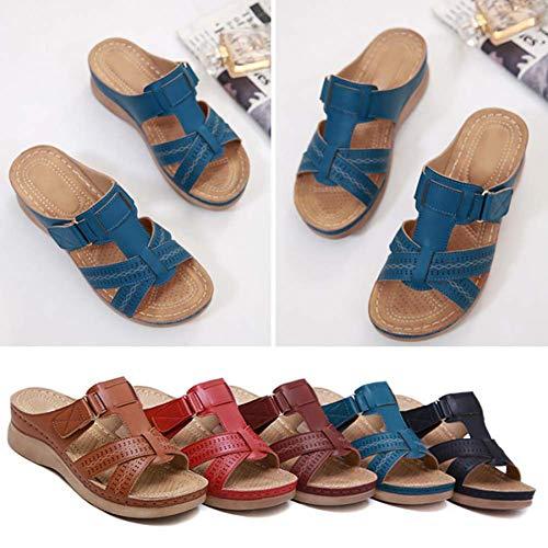 BESTWALK Orthopedic Premium Toe Corrector Sandals for Women (Blue,US 10.5/CN43)