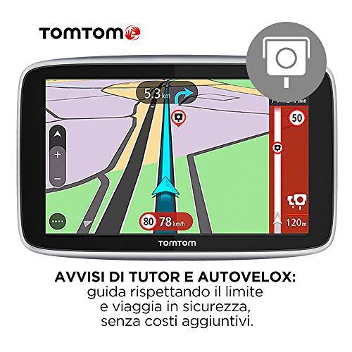 TomTom Navigatore Satellitare per Auto GO Premium, Traffico, Tutor e Autovelox, Mappe Mondo, Aggiornamenti Tramite WiFi, Chiamate in Vivavoce, Supporto Reversibile Magnetico, 6 Pollici