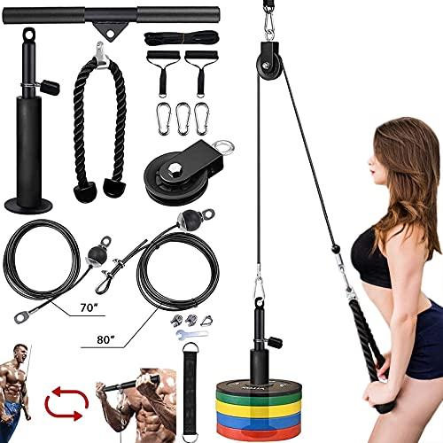 Kacsoo 16-Teiliges Seilzug Fitness Seilzug Kabelsystem, Heimtrainings-Fitnessgeräte, Unterarm-Handgelenkrollen-Trainer Armkrafttraining für Pulldowns, Bizeps-Curl, Trizeps-Verlängerungen