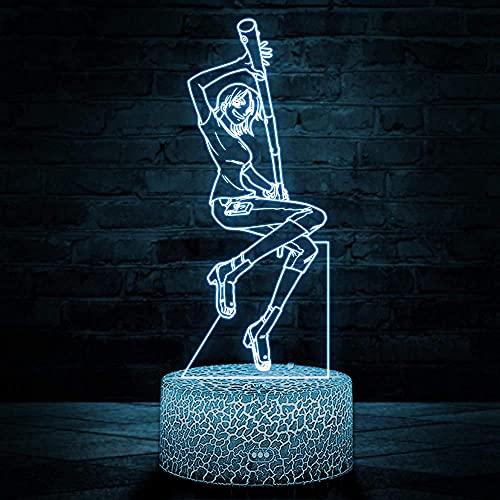 Nami - Lámpara de ilusión LED 3D para niños, luz nocturna, 16 colores, regulable, con USB, control táctil con mando a distancia, regalos creativos para niños de 10 años