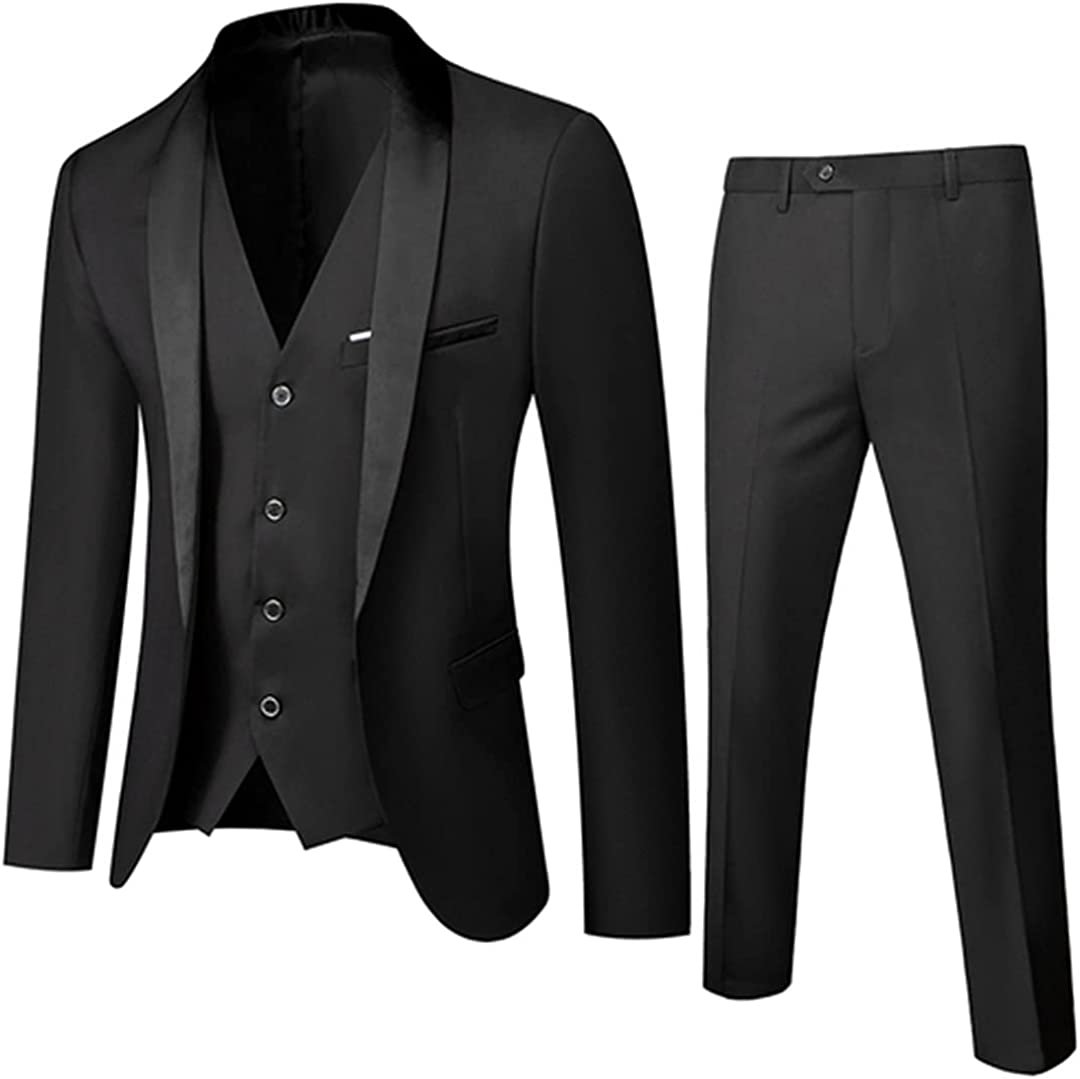 Men Autumn Wedding Party 3 Pieces Set Large Size Male Blazer Coat Pants and Vest Slim Fit Suit