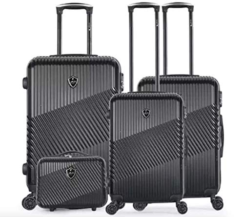 Gentleman Farmer Set of 3 Travel Suitcases with Vanity Case - Peter-C Model - Lightweight Solid Polycarbonate with 4 Wheels with Integrated Lock (55 cm Cabin Luggage + 66 cm + 75 cm)