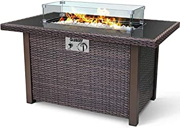 44   Propane Fire Pit 50,000 BTU PE Rattan Fire Pit Table with Black Tempered Glass Tabletop Glass Wind Guard Auto-Ignition White Glass Stone ETL CERT