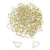 UNICRAFTALE 100 Uds Encanto de Corazón Hueco Encantos Dorados Hipoalergénicos Juego de Colgantes de Acero Inoxidable Encanto de 1mm Agujero Pequeño