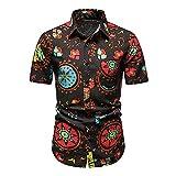 Camisa Casual Hombre Verano Cuello Kent Estampado Moda Hombre Camisa De Playa Bolsillos Transpirables Camisa Hombre Manga Corta Personalidad Tapeta Hombre Camisa Hawaiana B-Multicolor 2 S