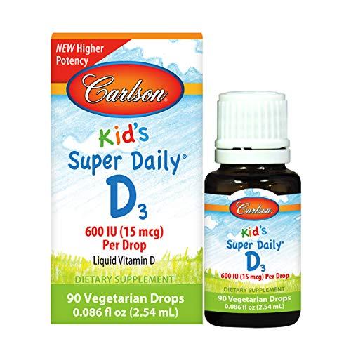Carlson - Kid's Super Daily D3, Kids Vitamin D Drops, 600 IU (50 mcg) per Drop, Heart & Immune Health, Vegetarian, Liquid Vitamin D Drops, Unflavored, 90 Drops