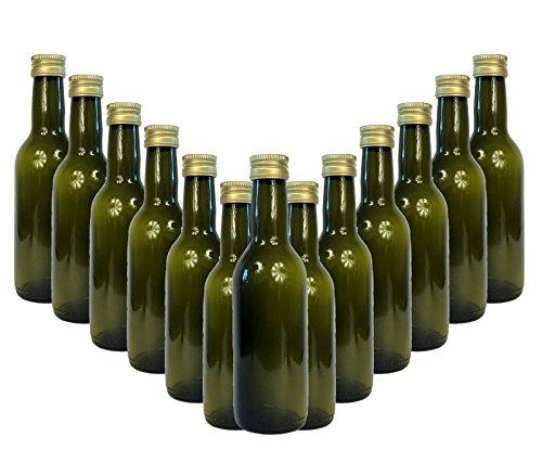 Glasflaschen Set mit Schraubverschluss Bord GRÜN   12 teilig   Füllmenge 250 ml 1/4 liter   Deckelfarbe Gold   Setzen Sie ganz einfach Ihr eigenes Öl oder Ihre eigenen Schnäpse und Liköre anz
