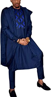 HD Men's African Clothing Embroidery Agbada Robe Dashiki Shirt Cotton Boubous Blue Outfits 3 Pieces