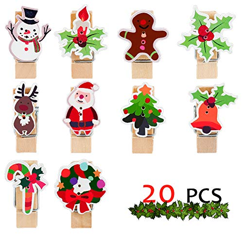 GMAOPHY Push Pin Clips - 20 Christmas Paper Clips with Pin - No Holes for The Paper