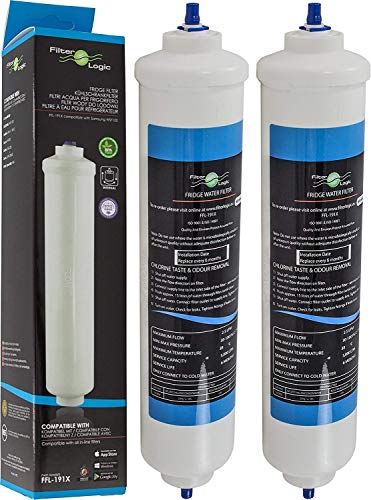2x FilterLogic FFL-191X - Filtro acqua esterno frigo compatibile con SAMSUNG DA29-10105J, DA2910105J, HAFEX/EXP, HAFEX EXP / LG 5231JA2010B, 5231JA2010C / HAIER 0060823485A / WHIRLPOOL USC100