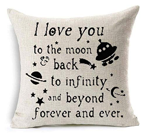 I Love You to The Moon Back to Infinity and Beyond Forever and Ever Spacecraft Outer Space for Lover Or Family Cotton Linen Decorative Throw Pillow Case Cushion Cover Square 18 X 18 Inches (No.7)