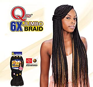 QUE KING JUMBO BRAID 6X (1 Jet Black) - Freetress Synthetic Bulk Mega Box Braiding Hair