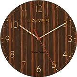 LAiMER Orologio da parete in legno di sandalo con secondi silenziosi, diametro 30 cm, movimento al quarzo, batteria inclusa, facile da leggere - per cucina, soggiorno, camera da letto