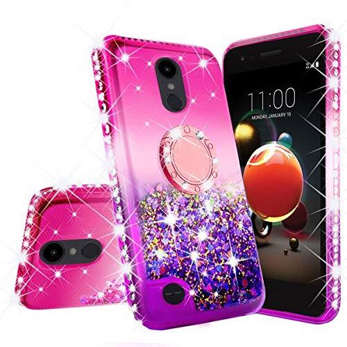 LG Rebel 4 LTE Case,LG Aristo 3 Case,LG Zone 4 Case, LG Phoenix 4 Case,LG Risio 3/Aristo 2 Plus Case,Cute Ring Liquid Glitter Phone Case Cover Kickstand Bling Diamond for Girls Women (Hot Pink/Purple)