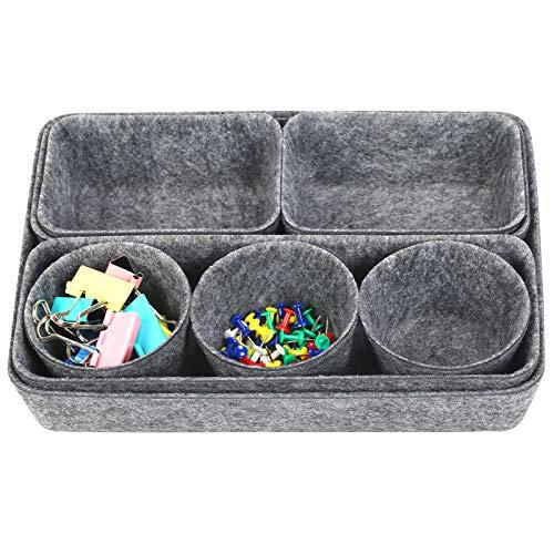 BIGKASI 8 PCS Filz Schubladen Organizer Filz-Aufbewahrungsboxen Filzkorb Büroboxen Set 4 Spezifikationen Aufbewahrungskorb aus Filz mit Clip und Reißzwecke für Schreibtisch, Büro, Bad, Küche (Grau)