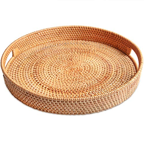 ALOFTT Hand-Woven Round Rattan Serving Tray with Handles Wicker Platter for Snack, Bread, Fruit for Coffee Table (M-11.8
