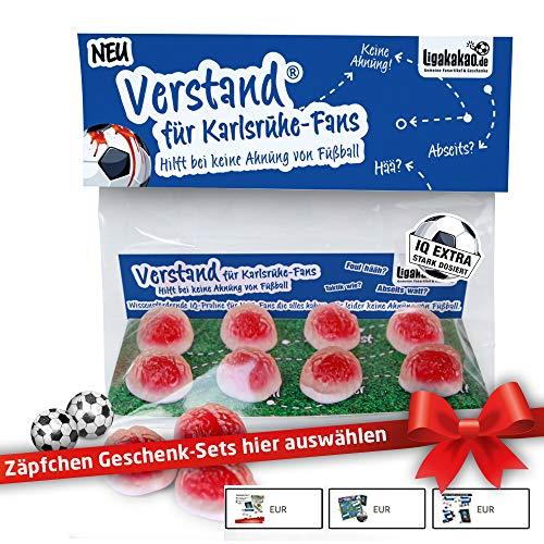 KSC Geschenk Set ist jetzt VERSTAND für Karlsruhe-Fans | Fruchtgummi-Pralinen, hochdosiert | Für Schalke, Bayern & Fußball-Fans, denen der Verstand von KSC-Fans am Herzen liegt