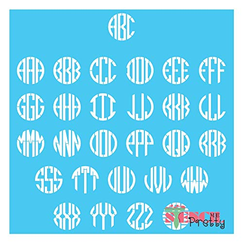 Stencil - Modern Celtic Monogram Font - Select Letters & Size Best Vinyl Large Stencils for Painting on Wood, Canvas, Wall, etc.-M (10' x 10')| Brilliant Blue Color Material