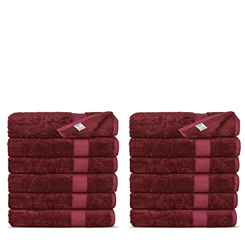 Chakir Turkish Linens Luxury Ultra Soft Bamboo 12Piece Washcloths  Soft Absorbent and EcoFriendly Cranberry
