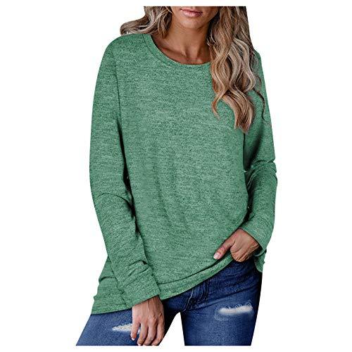 Blusa de manga larga para mujer con cuello de barco anudado, manga larga para mujer, ideal como regalo de Pascua (verde-XL)