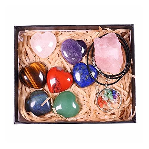 YSDSPTG Pierres brutes Natural Crystal Coeur Shape Seven Chakras Traitement Pierre Rose Quartz Rough Minéral Specimens Spécimens Arbre de la Vie Pendentif (Color : Crystal)