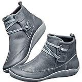 2019 Botas para Mujer, Soporte del Arco, Cómodos Botines de Deslizamiento Plano para Mujer, Zapatos Casuales para Mujer Otoño Invierno con Hebilla con Cremallera (38, Gris D)
