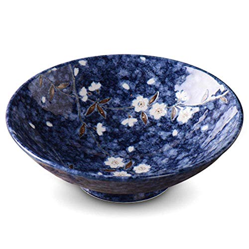 Luckya Extra Large Soup Ramen Noodle Bowl Fruit Salad Pasta Mixing Serving Bowl Creative Ceramic Hand Painted Cherry Blossom Tableware Oven Microwave Safe 9.6 Inches