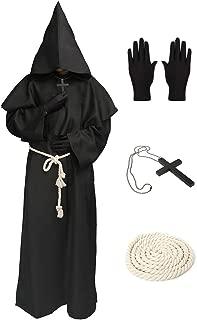 Medieval Hooded Monk-Friar Priest Robe Cap Cloak Halloween Cosplay Costume Wizard