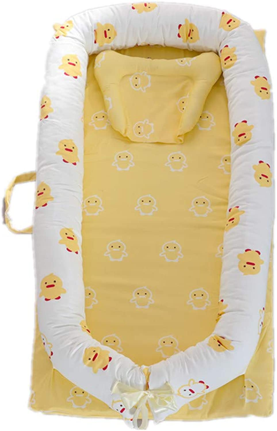 Abreeze Baby Lounger,Infant Lounger,Newborn Lounger  Breathable,Hypoallergenic-Perfect for Co-Sleeping,Cotton Portable Travel Infant Bed,Crib,Bassinet,or Yellow Duck Bear Baby Nest
