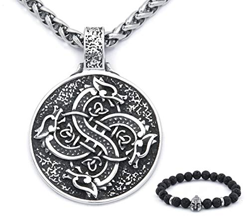 BaviPower Viking Celtic Dragon Head Pendant Keel Chain Necklace Stainless Steel Occult Talisman Jewel for Mens Womens