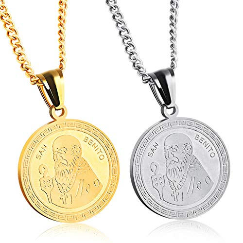 YIWEN Collar con Colgante De Medallón 2 Piezas Collar A Juego para Parejas Barato Acero Inoxidable para Él Y Sus Conjuntos Mujer Hombres para Ella para Chico para 2 Personalizado Collar