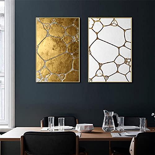 Carteles de pared de panal dorado imprime imágenes para la sala de estar decoración del hogar Arte moderno Pinturas en lienzo de oro negro Arte de pared 60x90cm (24x35in) x2 sin marco