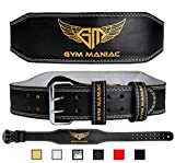 Gym Maniac GM Weight Lifting Waist Gym Belt | Adjustable Size, 2 Prong Buckle, Comfy Suede, Reinforced Stitching | Support Your Back & Alleviate Pains (Gold, Medium)