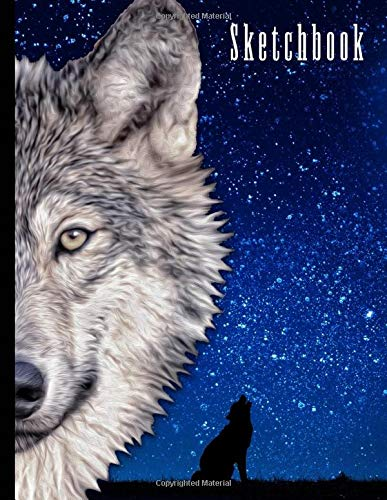 """Sketchbook: Wolf Themed Personalized Artist Book   Soft Cover Blank Sketch Pad Tablet   8.5"""" x 11"""", 108 pages   Gifts for Kids Girls Boys Teens Adults   for Drawing Painting Charcoal Ink"""