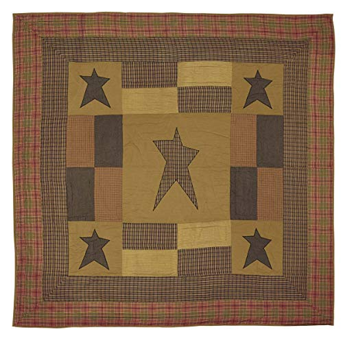 VHC Brands Primitive Bedding Sutton Cotton PreWashed Appliqued Star King Quilt Dark Khaki Tan