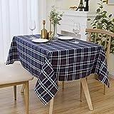 長方形テーブルクロスブルー市松模様 耐水性汚れ防止耐熱角型テーブルカバーキッチンダイニングテーブルトップ装飾用(130 x 220 cm)