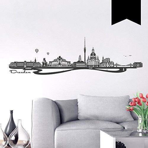 WANDKINGS Wandtattoo - Skyline Dresden - 100 x 28 cm - Schwarz - Wähle aus 6 Größen & 35 Farben