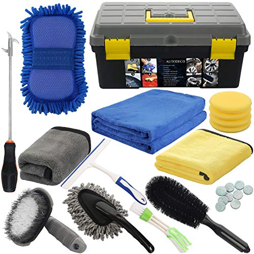 AUTODECO 25Pcs Microfibre Car Wash Cleaning Tools Set Gloves Towels