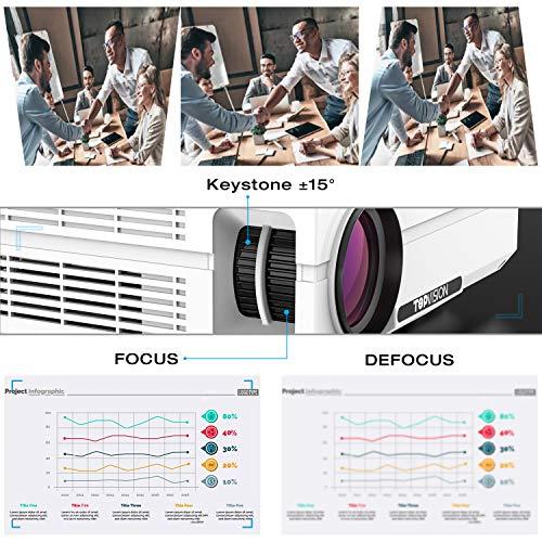 "TOPVISION Heimkino Beamer, 6500 Lumen Video Projektor with 80.000 Stunden Verlängert, Native 1080P LCD Beamer Full HD, 4K 300"" Heim/Berufsprojektor für Smartphone/PC/TV-Box/Laptop/PS4/PPT - 5"