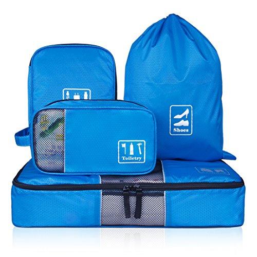ECOSUSI Accessori da Viaggio Organizer per Valigie Viaggio dei Bagagli Organizzatore 4 Set (Porta Cavi - Sacchetti per calzature - Beauty Case - Cubi di Imballaggio)