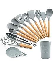 Siliconen keukengereiset,13 stuks houten handgrepen spatel set,kookgerei voor niet-stick pans, siliconen spatels voor koken keuken gadgets gereedschap