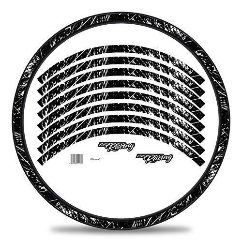 Finest Folia Set di 16 adesivi per cerchioni della bicicletta, dal design racing, set completo per 27' 29', per bici da corsa, mountain bike, bici da corsa, mountain bike, RX024 (bianco lucido)