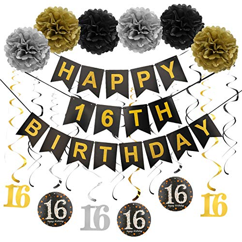 Luxiocio Happy 16th Birthday Party Supplies Decorations Kit - Including Happy 16th Birthday Banner, 12Pcs Hanging Swirl, 6Pcs Poms - Sixteen Birthday Decorations for Boys & Girls