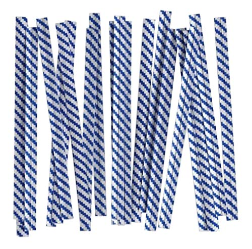 """APQ Pack of 2000 Paper Twist Ties 4"""" Long and 3/16"""" Wide. Blue Stripes Twist Ties for Trash Bags, Bread Bags. Paper Coated Ties. Bendable Multi-Function Strong Wire Ties for Tying Gift Bags. Wholesale"""