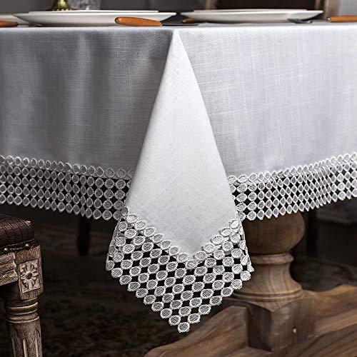 ARTABLE Mantel de lino de poliéster clásico de estilo clásico y encaje blanco rectangular de alta calidad, adecuado para bodas y cenas, color blanco, 140 x 180 cm
