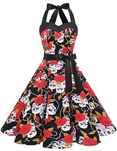 Dresstells® Halter 50s Rockabilly Polka Dots Audrey Dress Cosplay Halloween Dress Black Skull 3XL